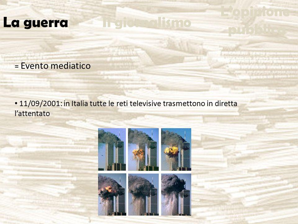 = Evento mediatico 11/09/2001: in Italia tutte le reti televisive trasmettono in diretta l'attentato La guerra Il giornalismo L'opinione pubblica