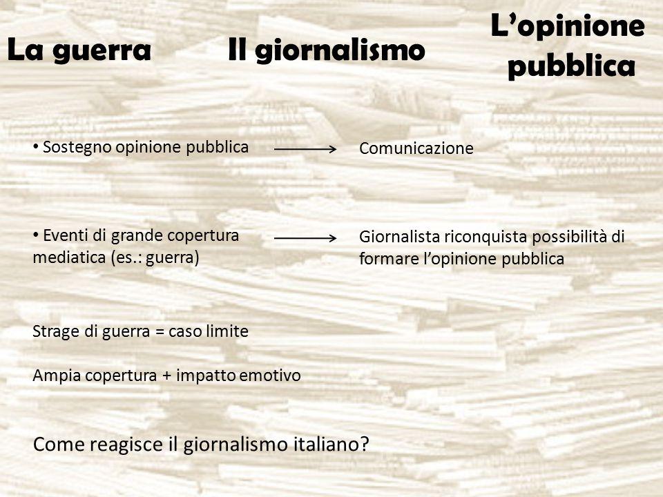 Sostegno opinione pubblica Eventi di grande copertura mediatica (es.: guerra) La guerra Il giornalismo L'opinione pubblica Comunicazione Giornalista r