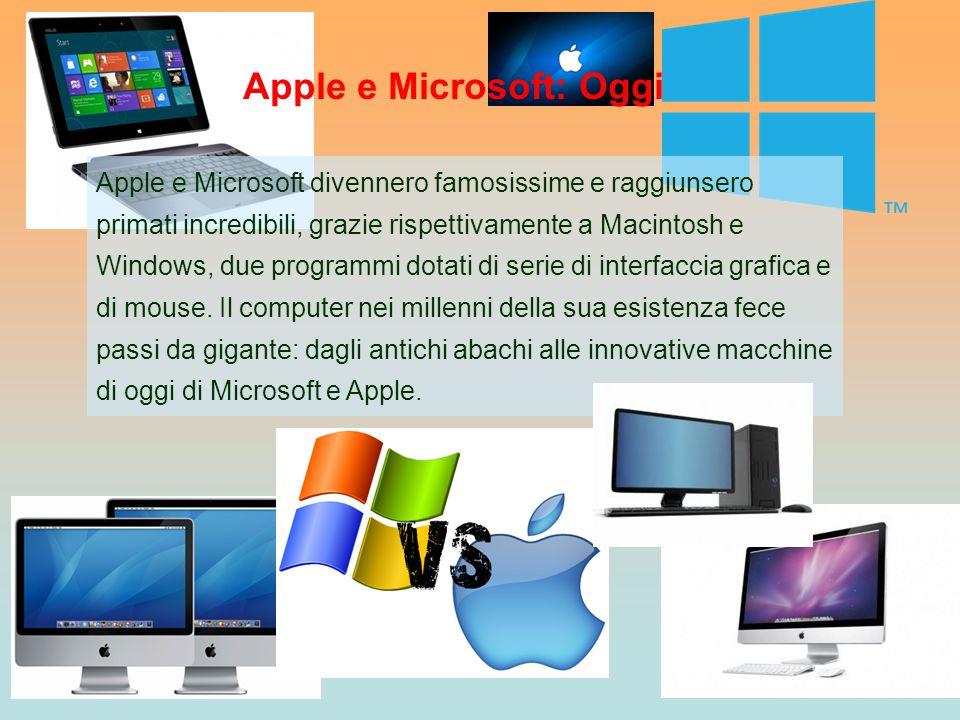 Apple e Microsoft divennero famosissime e raggiunsero primati incredibili, grazie rispettivamente a Macintosh e Windows, due programmi dotati di serie