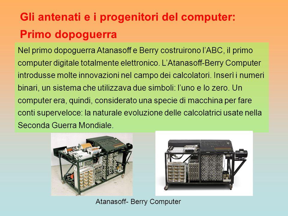 Gli antenati e i progenitori del computer: Primo dopoguerra Nel primo dopoguerra Atanasoff e Berry costruirono l'ABC, il primo computer digitale total