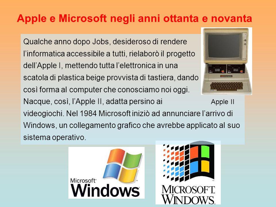 Apple e Microsoft negli anni ottanta e novanta Qualche anno dopo Jobs, desideroso di rendere l'informatica accessibile a tutti, rielaborò il progetto