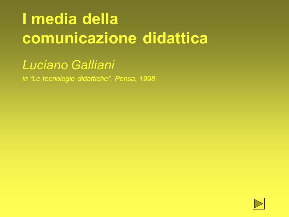 I media della comunicazione didattica Luciano Galliani in Le tecnologie didattiche , Pensa, 1998