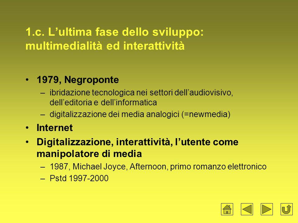 1.c. L'ultima fase dello sviluppo: multimedialità ed interattività 1979, Negroponte –ibridazione tecnologica nei settori dell'audiovisivo, dell'editor