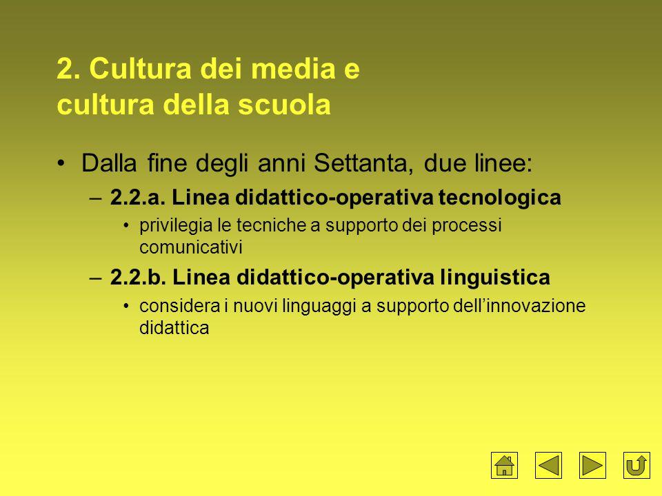 2.Cultura dei media e cultura della scuola Dalla fine degli anni Settanta, due linee: –2.2.a.