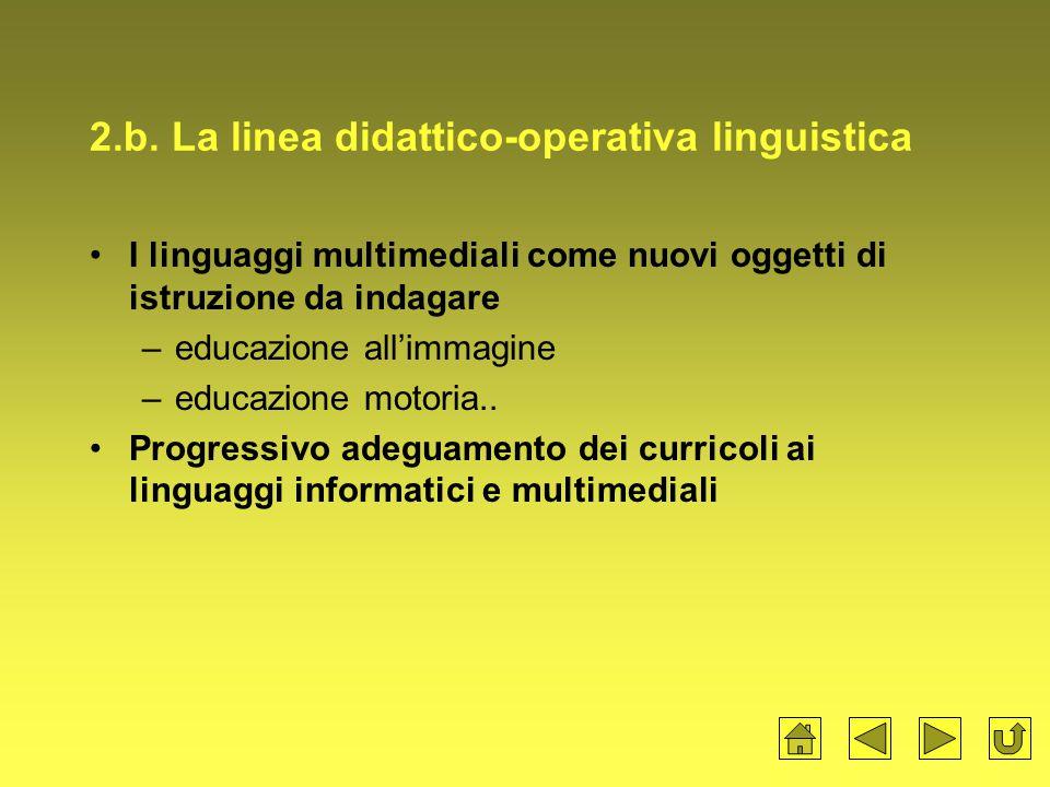 2.b. La linea didattico-operativa linguistica I linguaggi multimediali come nuovi oggetti di istruzione da indagare –educazione all'immagine –educazio