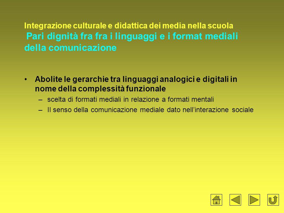 Integrazione culturale e didattica dei media nella scuola Pari dignità fra fra i linguaggi e i format mediali della comunicazione Abolite le gerarchie tra linguaggi analogici e digitali in nome della complessità funzionale –scelta di formati mediali in relazione a formati mentali –Il senso della comunicazione mediale dato nell'interazione sociale