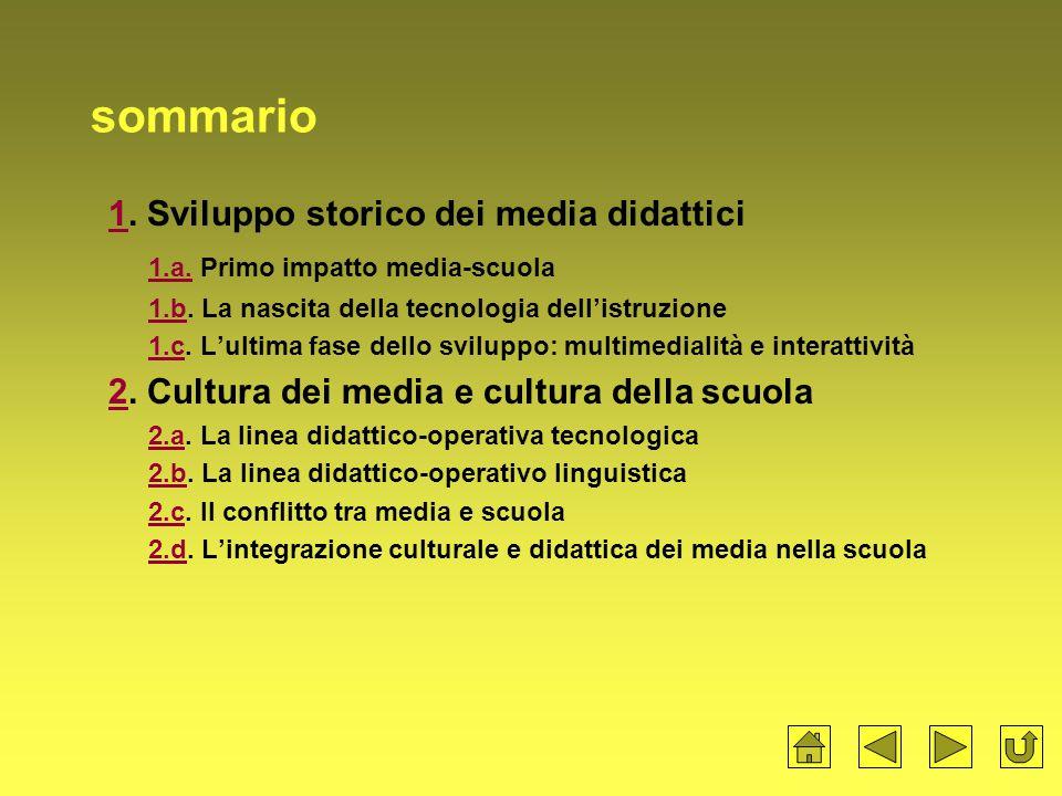 sommario 11.Sviluppo storico dei media didattici 1.a.1.a.