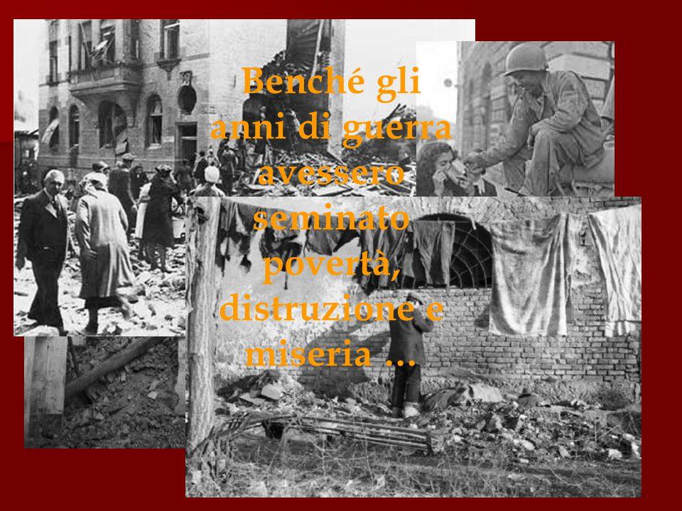 Le donne, più di tutti, furono le protagoniste della rinascita dell'Italia sfinita dalla guerra, perché non si attardarono più di tanto nello scontro ideologico che divideva il Paese, e lavorarono intensamente alla sua ricostruzione morale .