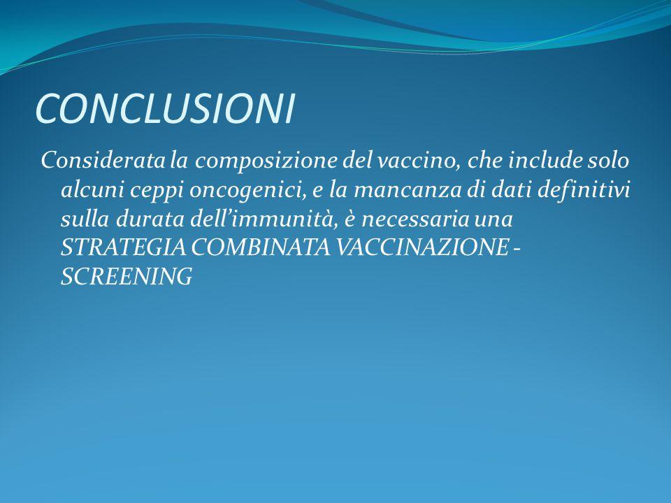 CONCLUSIONI Considerata la composizione del vaccino, che include solo alcuni ceppi oncogenici, e la mancanza di dati definitivi sulla durata dell'immunità, è necessaria una STRATEGIA COMBINATA VACCINAZIONE - SCREENING