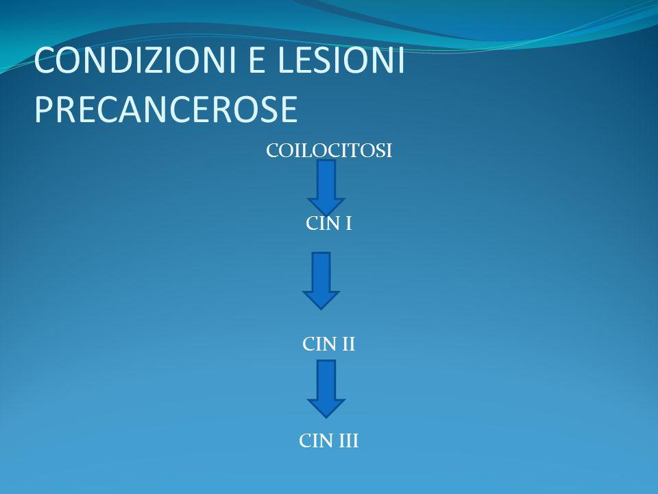 CONDIZIONI E LESIONI PRECANCEROSE COILOCITOSI CIN I CIN II CIN III
