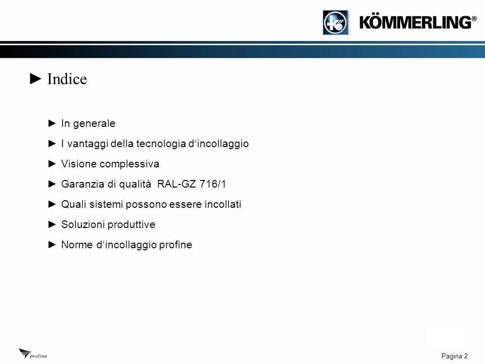 Pagina 2 ► Indice ►In generale ►I vantaggi della tecnologia d'incollaggio ►Visione complessiva ►Garanzia di qualità RAL-GZ 716/1 ►Quali sistemi possono essere incollati ►Soluzioni produttive ►Norme d'incollaggio profine