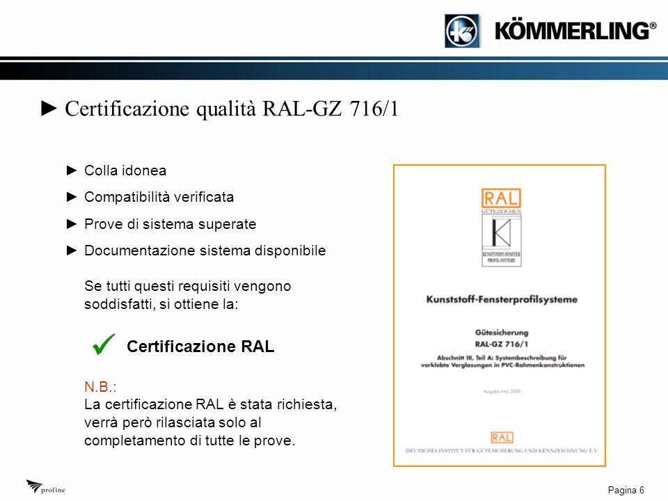 Pagina 6 ► Certificazione qualità RAL-GZ 716/1 ►Colla idonea ►Compatibilità verificata ►Prove di sistema superate ►Documentazione sistema disponibile Se tutti questi requisiti vengono soddisfatti, si ottiene la: Certificazione RAL N.B.: La certificazione RAL è stata richiesta, verrà però rilasciata solo al completamento di tutte le prove.