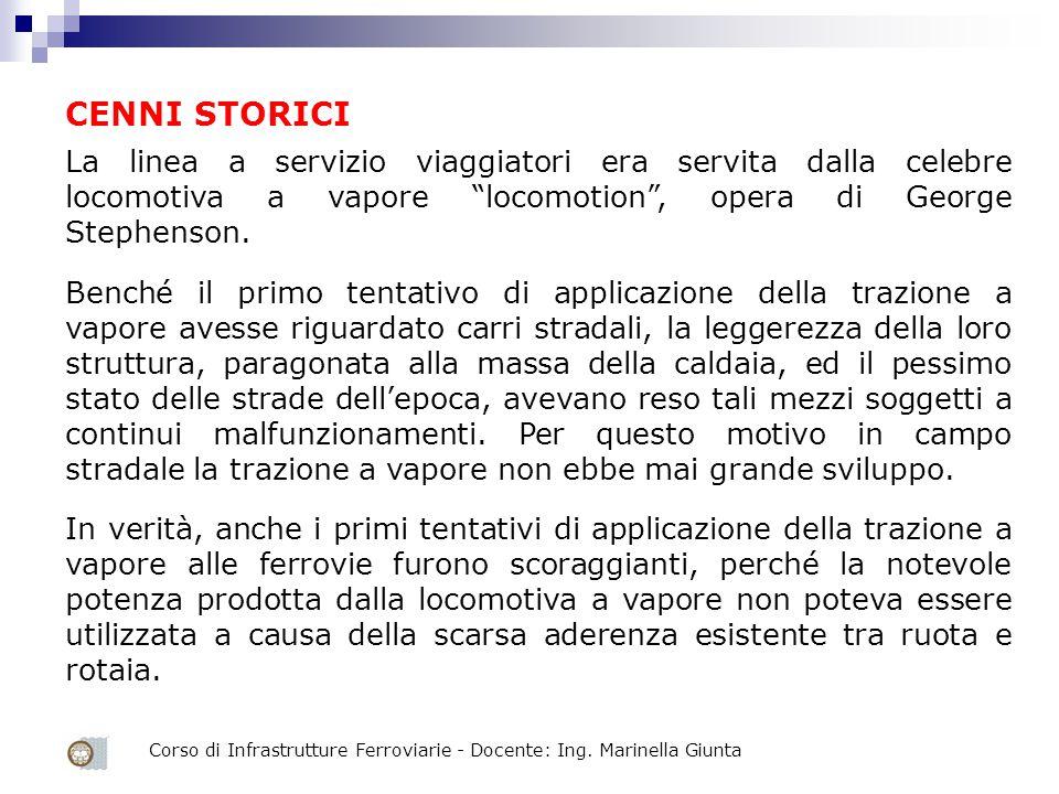 """Corso di Infrastrutture Ferroviarie - Docente: Ing. Marinella Giunta La linea a servizio viaggiatori era servita dalla celebre locomotiva a vapore """"lo"""