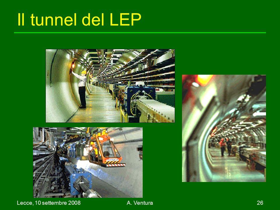 Lecce, 10 settembre 2008A. Ventura 26 Il tunnel del LEP