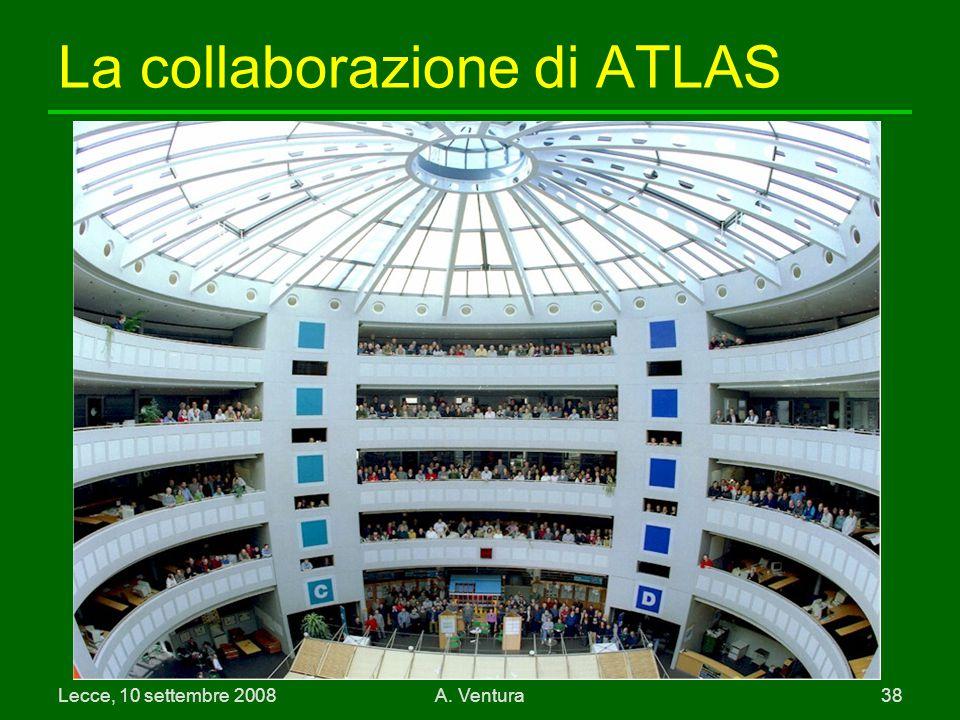 Lecce, 10 settembre 2008A. Ventura 38 La collaborazione di ATLAS