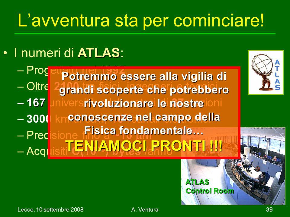 Lecce, 10 settembre 2008A.Ventura 39 L'avventura sta per cominciare.
