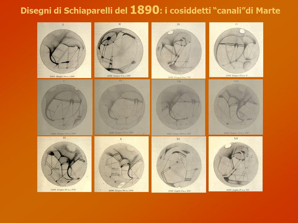 Disegni di Schiaparelli del 1890 : i cosiddetti canali di Marte