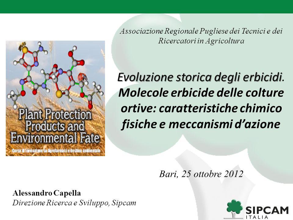 Associazione Regionale Pugliese dei Tecnici e dei Ricercatori in Agricoltura Evoluzione storica degli erbicidi Evoluzione storica degli erbicidi. Mole