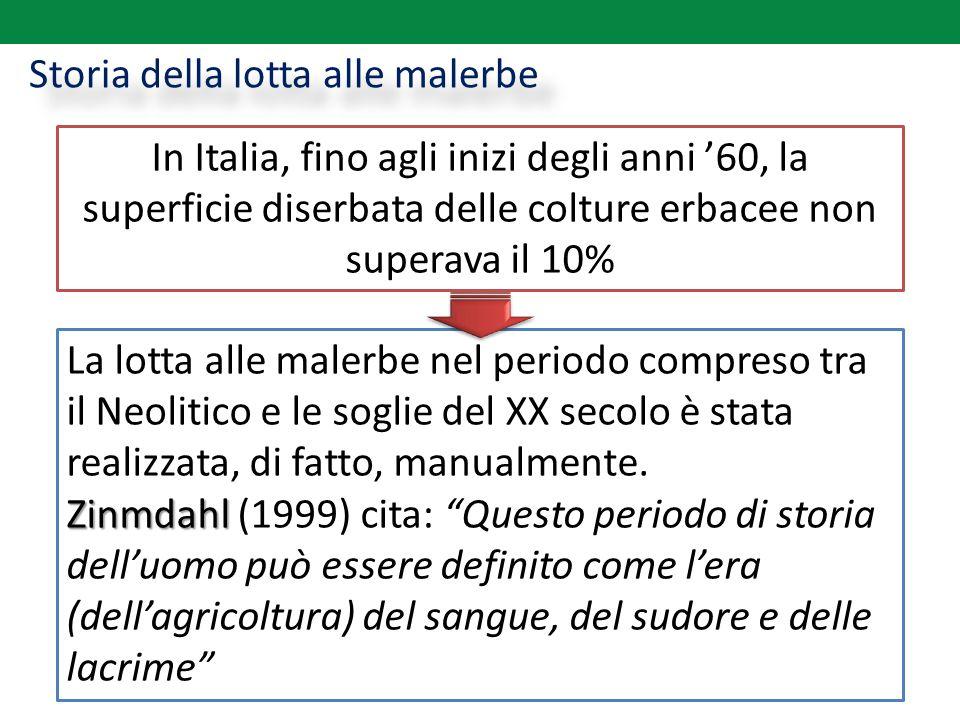 Storia della lotta alle malerbe In Italia, fino agli inizi degli anni '60, la superficie diserbata delle colture erbacee non superava il 10% La lotta
