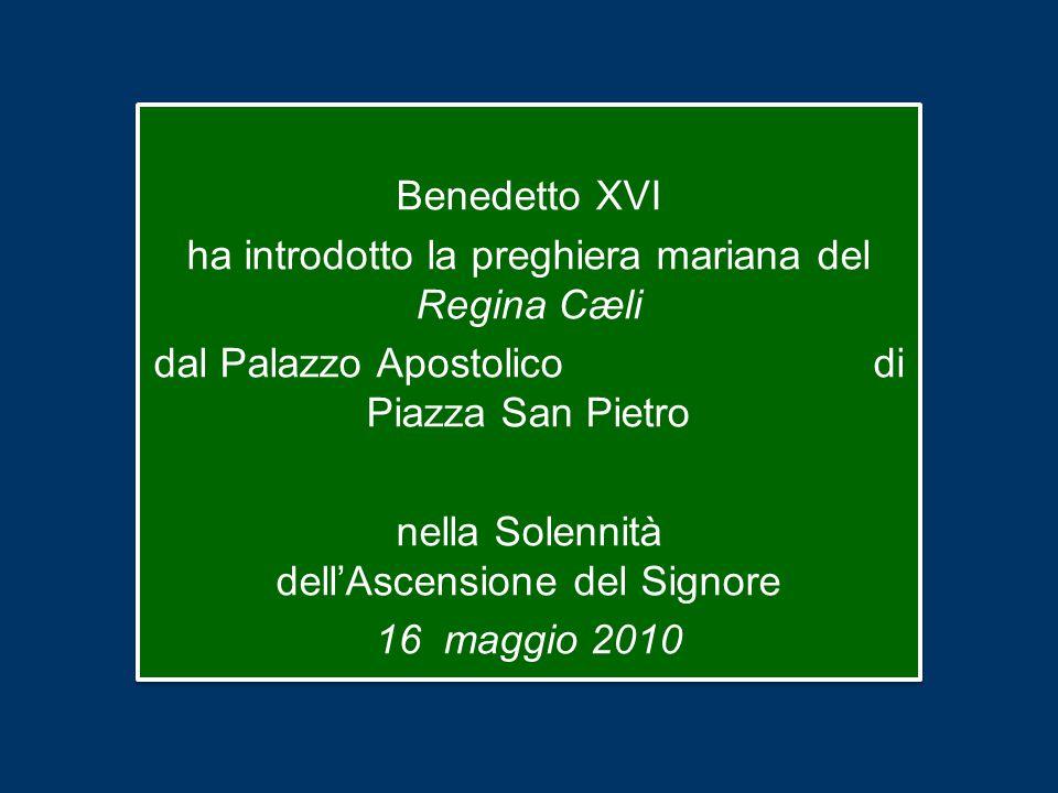 Benedetto XVI ha introdotto la preghiera mariana del Regina Cæli dal Palazzo Apostolico di Piazza San Pietro nella Solennità dell'Ascensione del Signore 16 maggio 2010 Benedetto XVI ha introdotto la preghiera mariana del Regina Cæli dal Palazzo Apostolico di Piazza San Pietro nella Solennità dell'Ascensione del Signore 16 maggio 2010