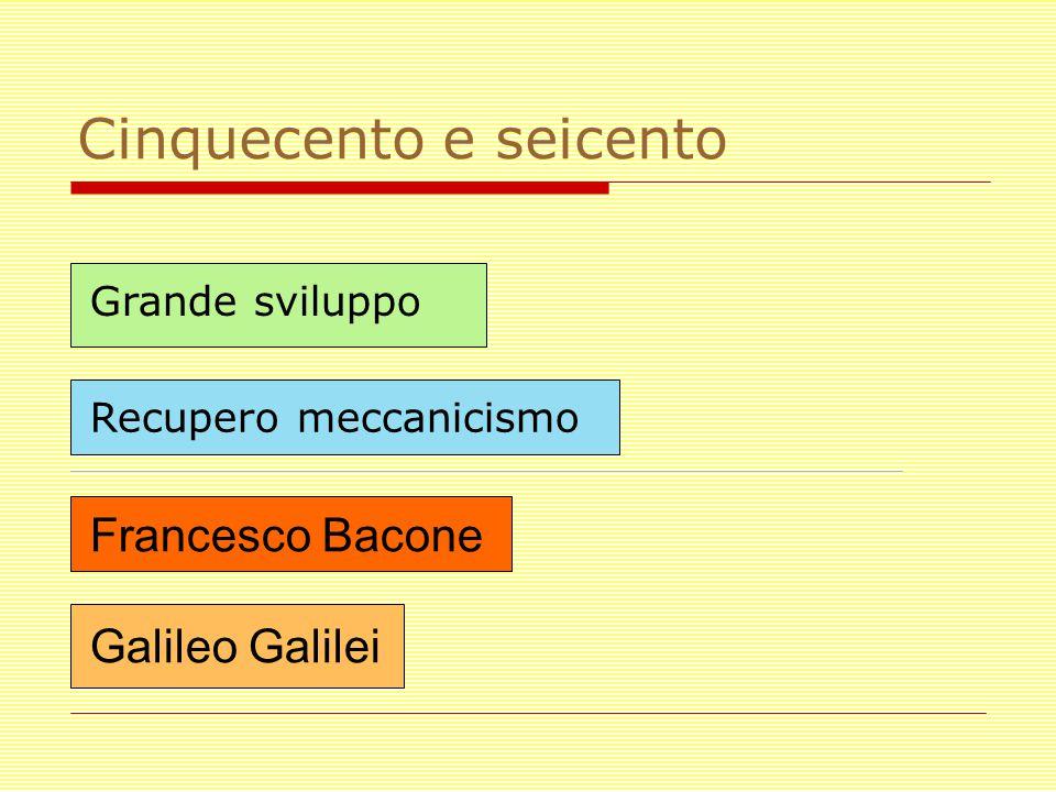 Cinquecento e seicento Francesco Bacone Galileo Galilei Grande sviluppo Recupero meccanicismo