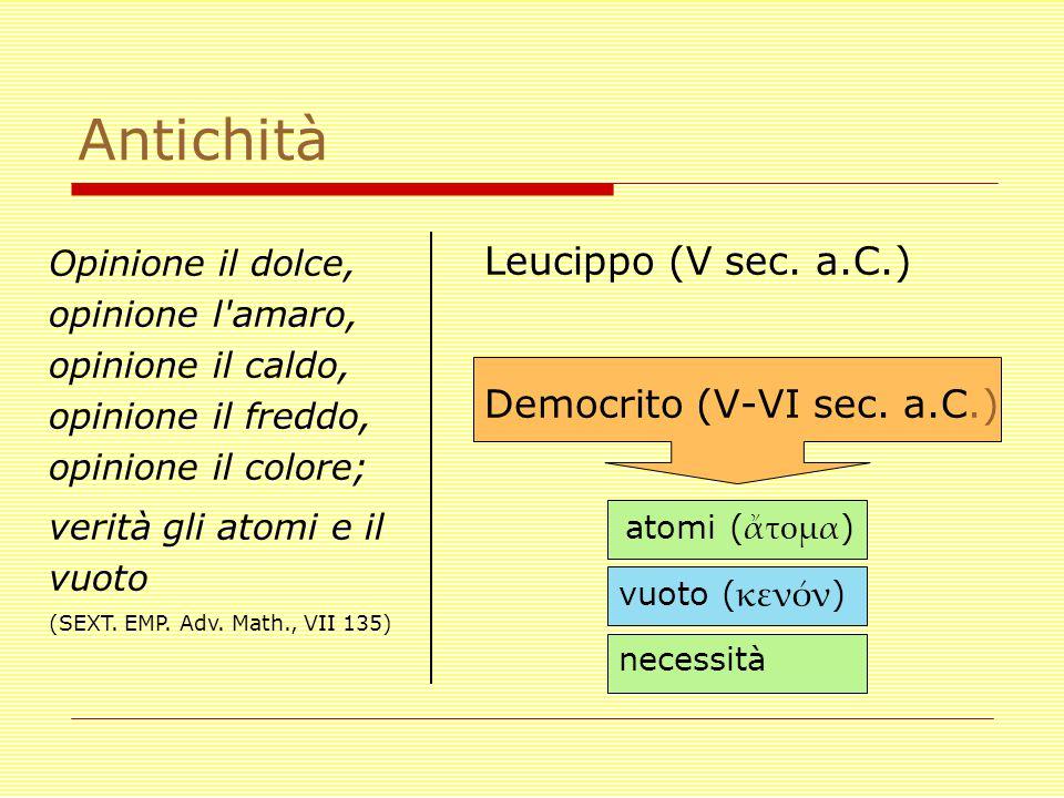 Antichità Leucippo (V sec. a.C.) Democrito (V-VI sec. a.C.) atomi ( ἄτομα ) necessità Opinione il dolce, opinione l'amaro, opinione il caldo, opinione