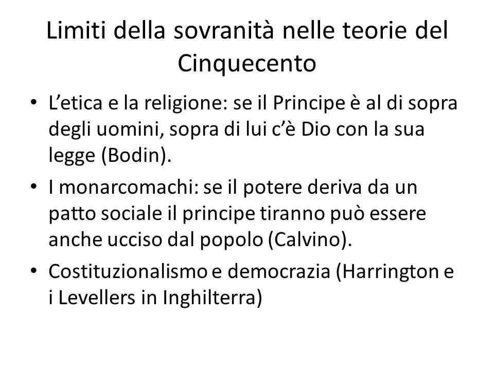 Limiti della sovranità nelle teorie del Cinquecento L'etica e la religione: se il Principe è al di sopra degli uomini, sopra di lui c'è Dio con la sua legge (Bodin).