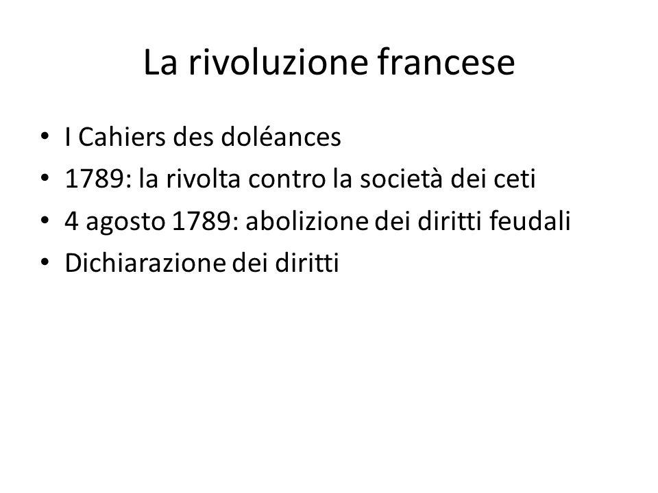 La rivoluzione francese I Cahiers des doléances 1789: la rivolta contro la società dei ceti 4 agosto 1789: abolizione dei diritti feudali Dichiarazione dei diritti