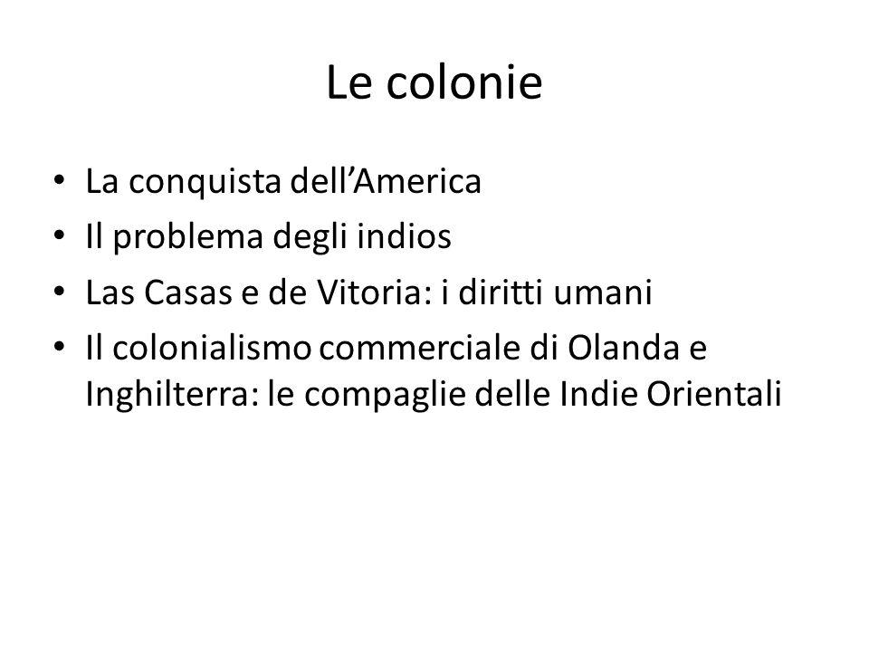 Le colonie La conquista dell'America Il problema degli indios Las Casas e de Vitoria: i diritti umani Il colonialismo commerciale di Olanda e Inghilterra: le compaglie delle Indie Orientali