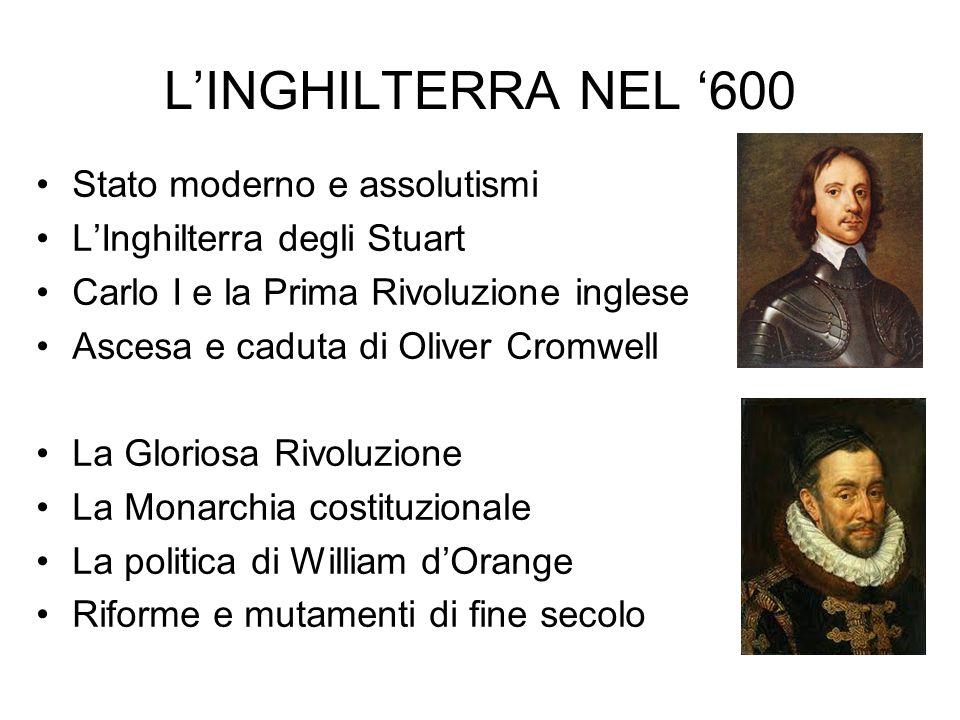 L'INGHILTERRA NEL '600 Stato moderno e assolutismi L'Inghilterra degli Stuart Carlo I e la Prima Rivoluzione inglese Ascesa e caduta di Oliver Cromwel