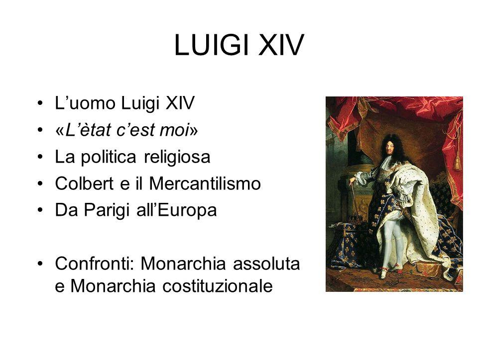 LUIGI XIV L'uomo Luigi XIV «L'ètat c'est moi» La politica religiosa Colbert e il Mercantilismo Da Parigi all'Europa Confronti: Monarchia assoluta e Mo