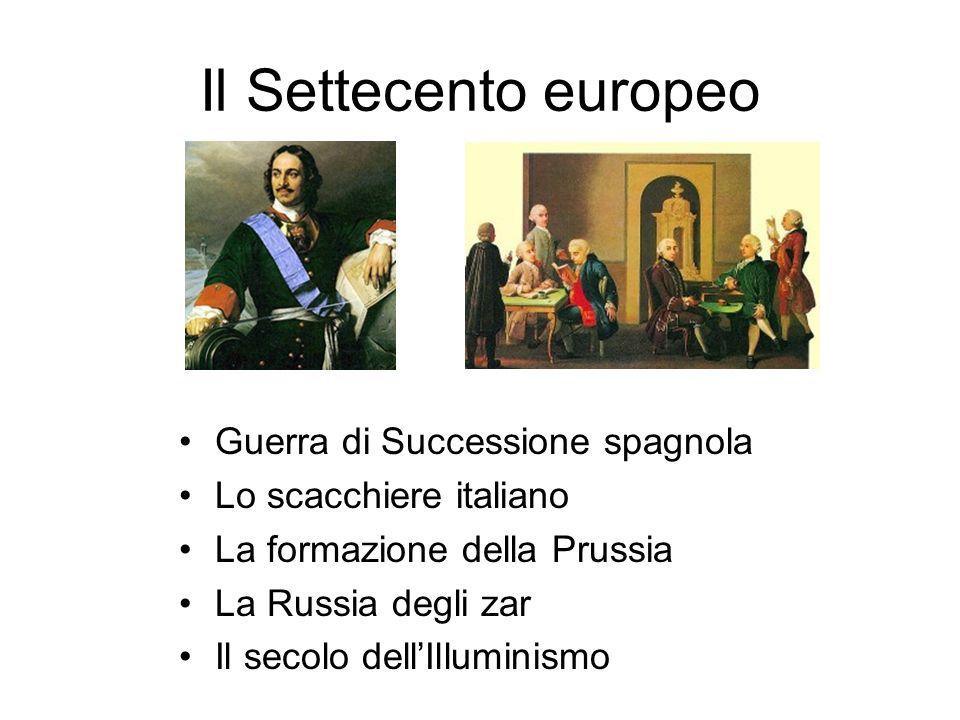 Il Settecento europeo Guerra di Successione spagnola Lo scacchiere italiano La formazione della Prussia La Russia degli zar Il secolo dell'Illuminismo