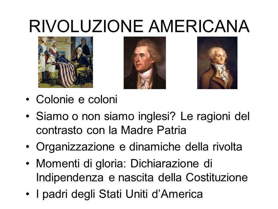RIVOLUZIONE AMERICANA Colonie e coloni Siamo o non siamo inglesi? Le ragioni del contrasto con la Madre Patria Organizzazione e dinamiche della rivolt