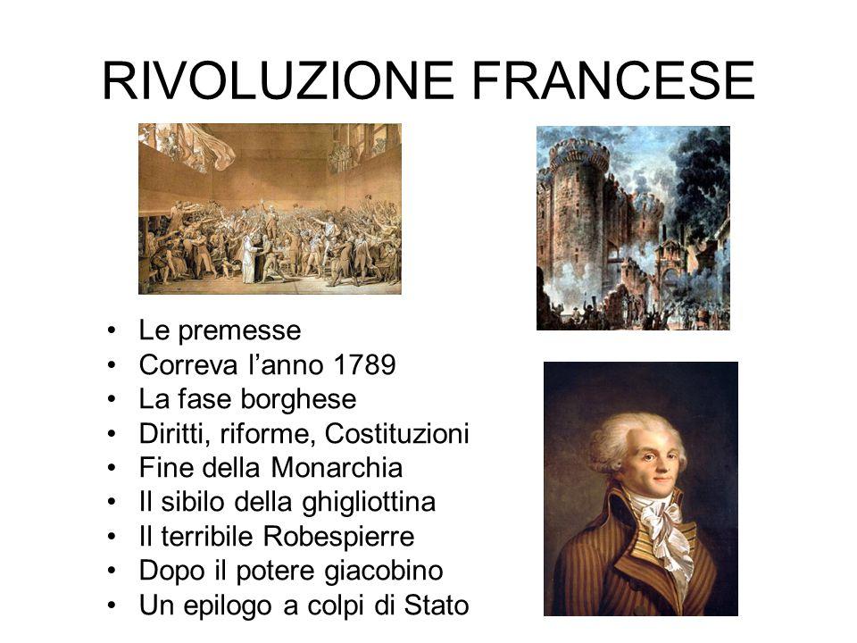 RIVOLUZIONE FRANCESE Le premesse Correva l'anno 1789 La fase borghese Diritti, riforme, Costituzioni Fine della Monarchia Il sibilo della ghigliottina