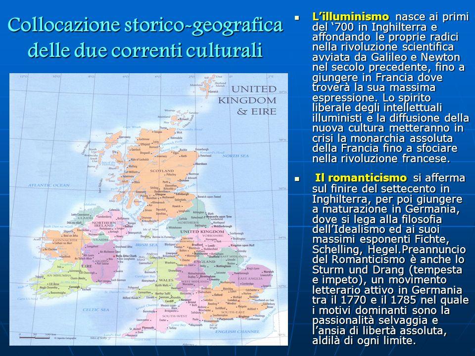 Collocazione storico-geografica delle due correnti culturali L'illuminismo nasce ai primi del '700 in Inghilterra e affondando le proprie radici nella