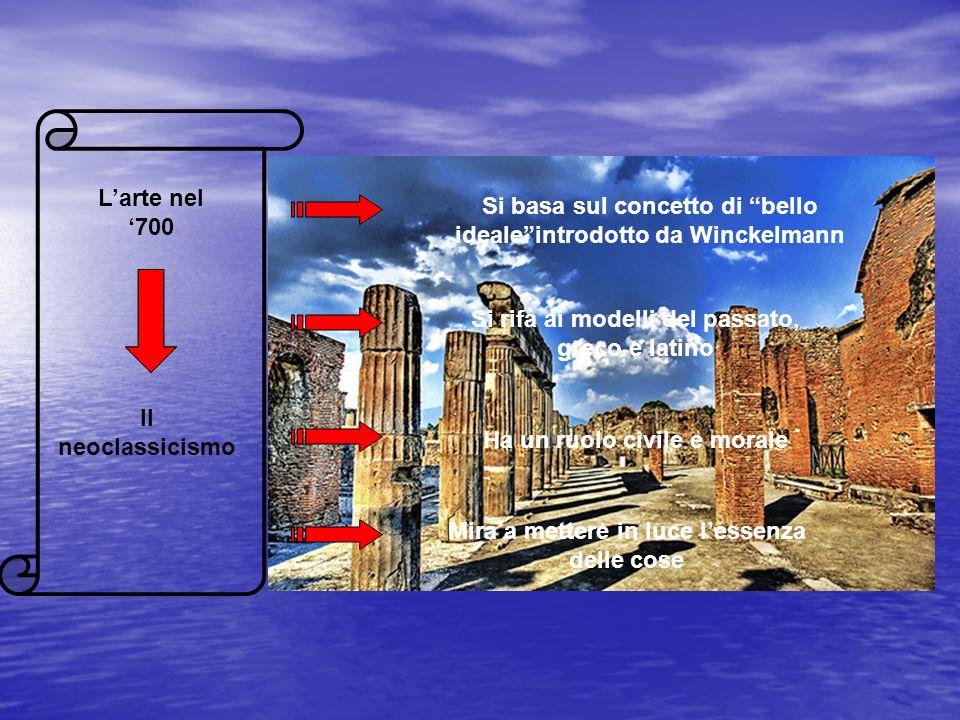 """L'arte nel '700 Il neoclassicismo Si basa sul concetto di """"bello ideale""""introdotto da Winckelmann Si rifà ai modelli del passato, greco e latino Ha un"""
