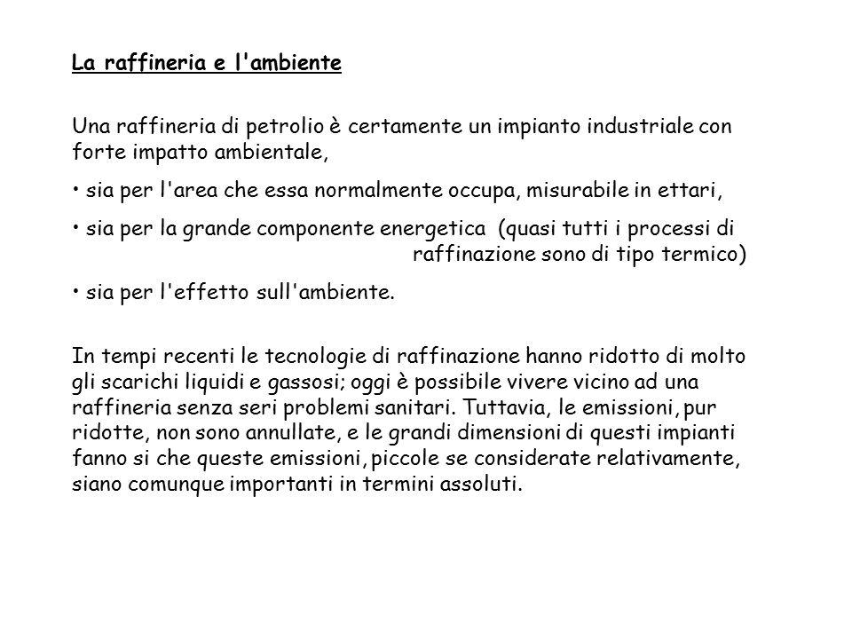 La raffineria e l'ambiente Una raffineria di petrolio è certamente un impianto industriale con forte impatto ambientale, sia per l'area che essa norma