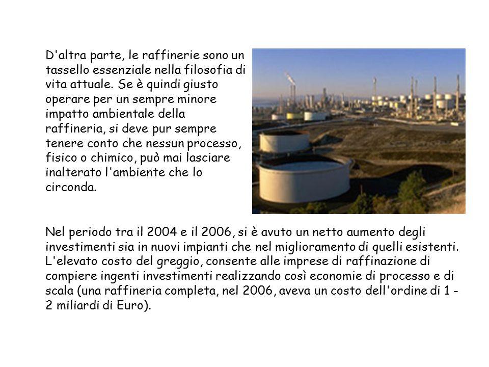 D'altra parte, le raffinerie sono un tassello essenziale nella filosofia di vita attuale. Se è quindi giusto operare per un sempre minore impatto ambi