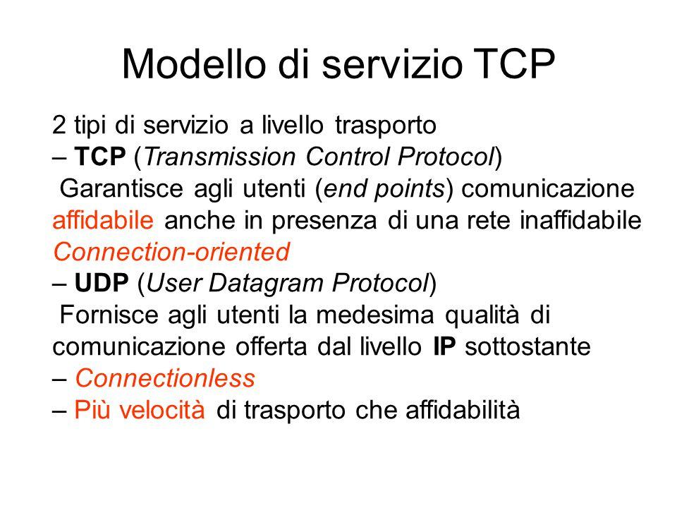 2 tipi di servizio a livello trasporto – TCP (Transmission Control Protocol) Garantisce agli utenti (end points) comunicazione affidabile anche in pre