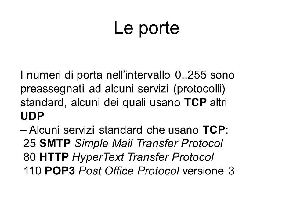 I numeri di porta nell'intervallo 0..255 sono preassegnati ad alcuni servizi (protocolli) standard, alcuni dei quali usano TCP altri UDP – Alcuni serv