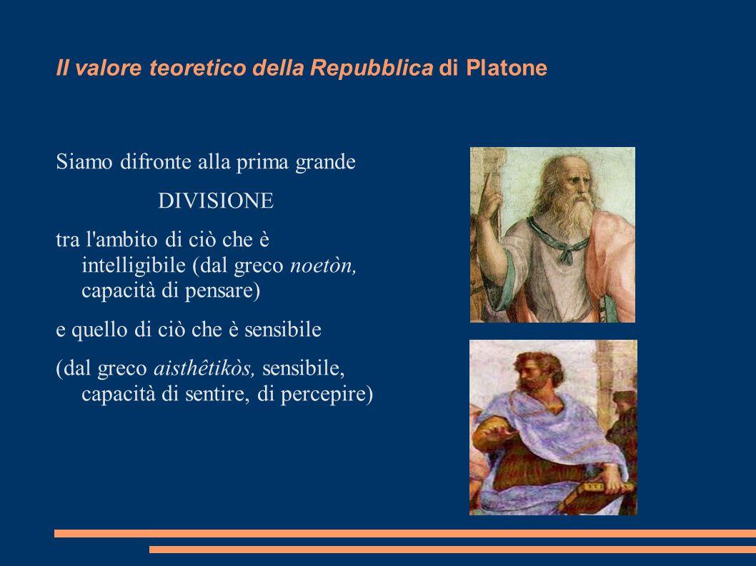 Il valore teoretico della Repubblica di Platone Siamo difronte alla prima grande DIVISIONE tra l'ambito di ciò che è intelligibile (dal greco noetòn,