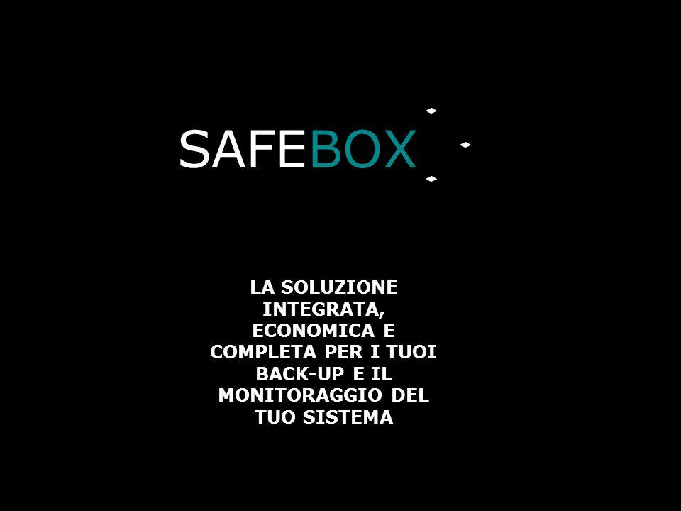 SAFEBOX Verifica l'effettiva esecuzione dei back-up Notifica l'esito delle operazioni via e-mail Ripristina i dati che selezioni quando vuoi tu