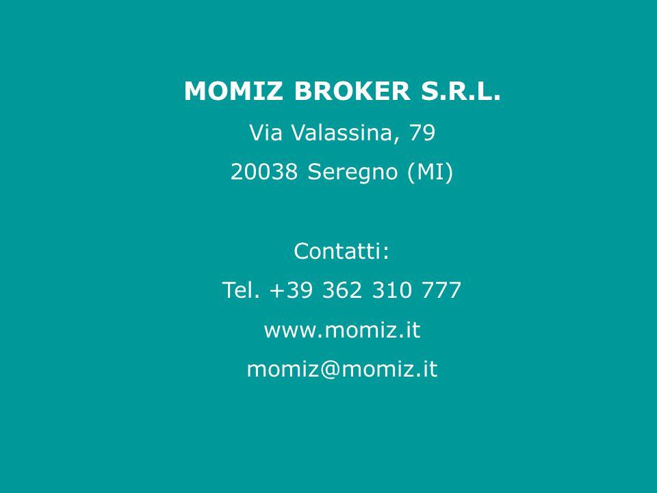 MOMIZ BROKER S.R.L. Via Valassina, 79 20038 Seregno (MI) Contatti: Tel. +39 362 310 777 www.momiz.it momiz@momiz.it