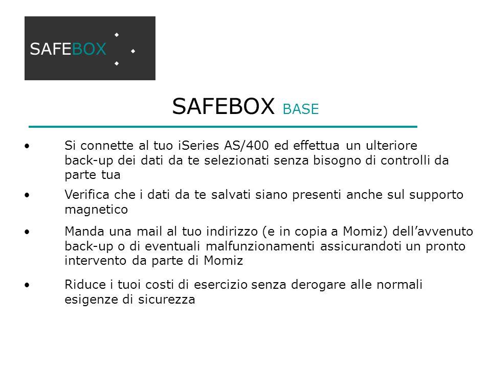 SAFEBOX BASE SAFEBOX Si connette al tuo iSeries AS/400 ed effettua un ulteriore back-up dei dati da te selezionati senza bisogno di controlli da parte
