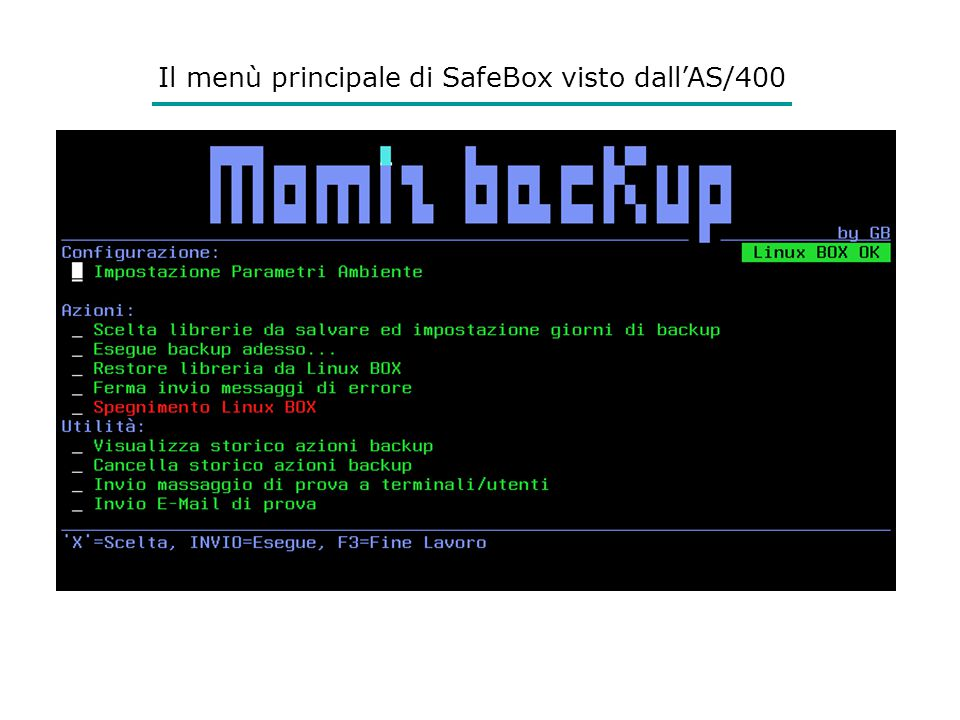 Il menù principale di SafeBox visto dall'AS/400