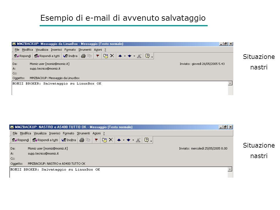 Esempio di e-mail di avvenuto salvataggio Situazione nastri