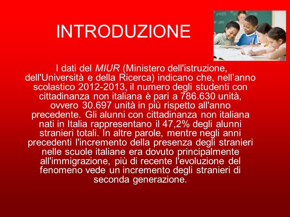 INTRODUZIONE I dati del MIUR (Ministero dell istruzione, dell Università e della Ricerca) indicano che, nell'anno scolastico 2012-2013, il numero degli studenti con cittadinanza non italiana è pari a 786.630 unità, ovvero 30.697 unità in più rispetto all anno precedente.
