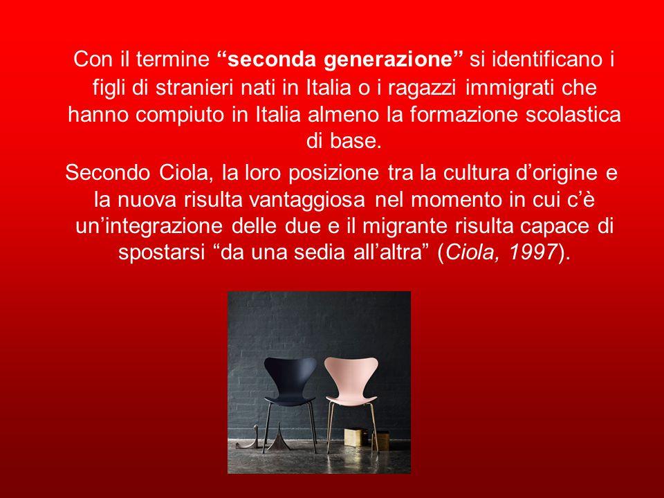 Con il termine seconda generazione si identificano i figli di stranieri nati in Italia o i ragazzi immigrati che hanno compiuto in Italia almeno la formazione scolastica di base.