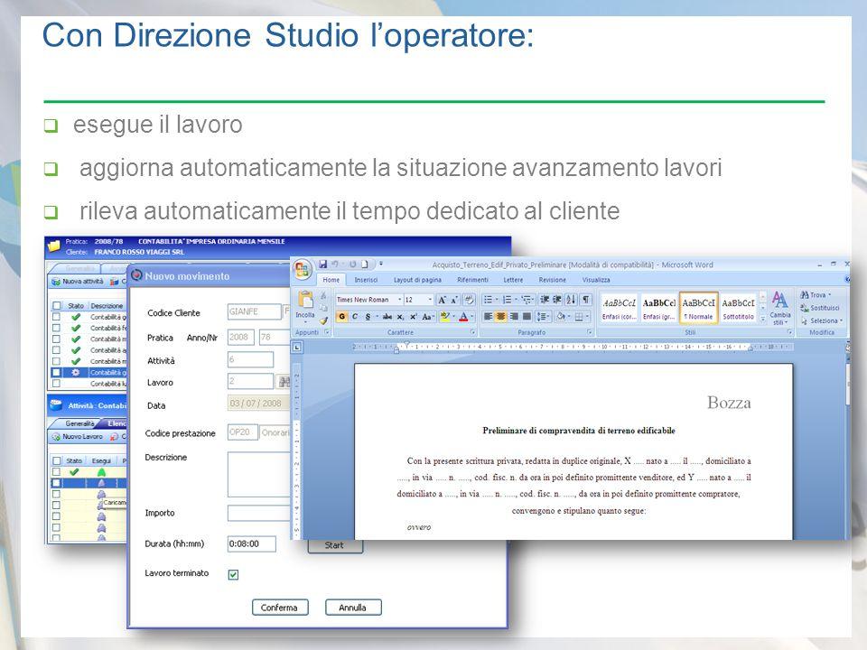  esegue il lavoro  aggiorna automaticamente la situazione avanzamento lavori  rileva automaticamente il tempo dedicato al cliente Con Direzione Studio l'operatore: