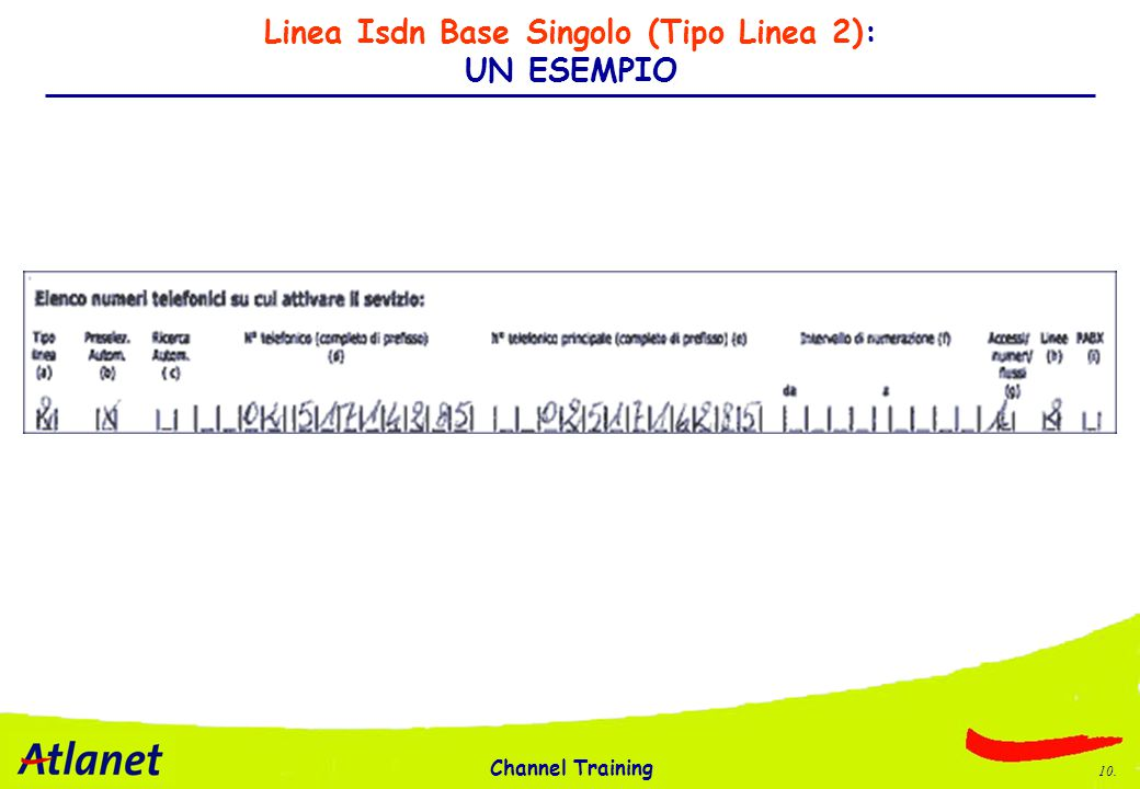 Channel Training 10. Linea Isdn Base Singolo (Tipo Linea 2): UN ESEMPIO